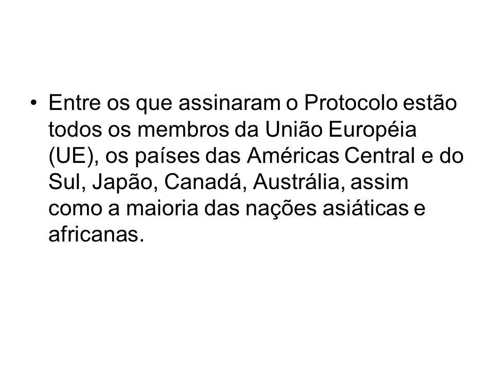 Entre os que assinaram o Protocolo estão todos os membros da União Européia (UE), os países das Américas Central e do Sul, Japão, Canadá, Austrália, assim como a maioria das nações asiáticas e africanas.