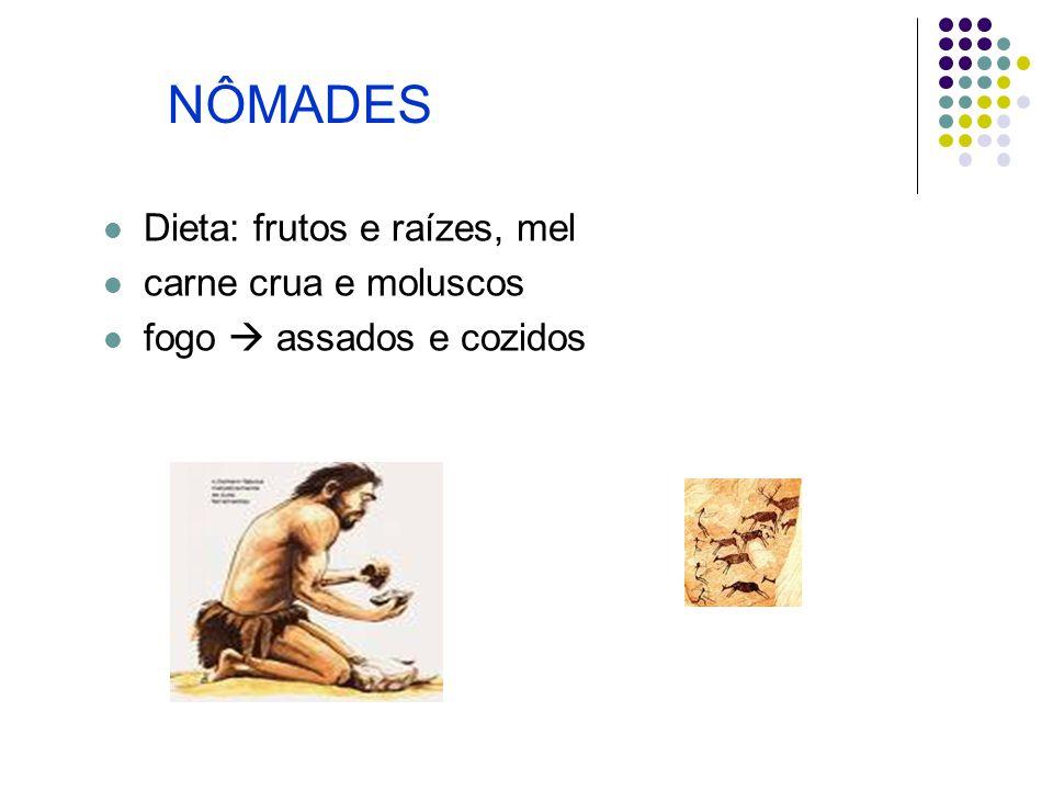 NÔMADES Dieta: frutos e raízes, mel carne crua e moluscos