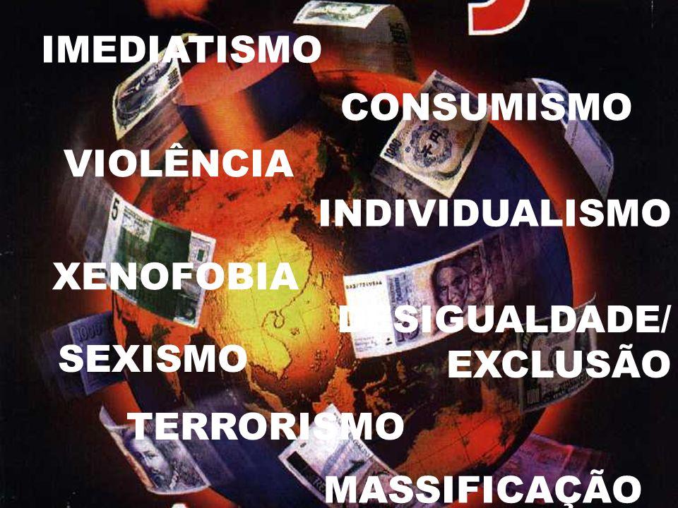IMEDIATISMOCONSUMISMO. VIOLÊNCIA. INDIVIDUALISMO. XENOFOBIA. DESIGUALDADE/ EXCLUSÃO. SEXISMO. TERRORISMO.