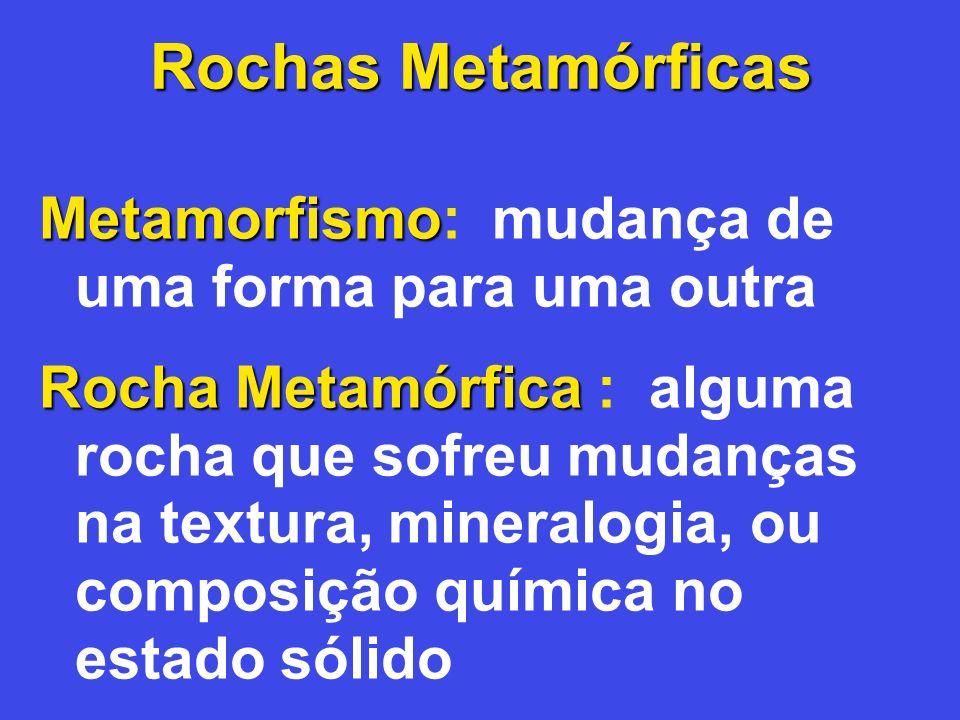 Rochas Metamórficas Metamorfismo: mudança de uma forma para uma outra