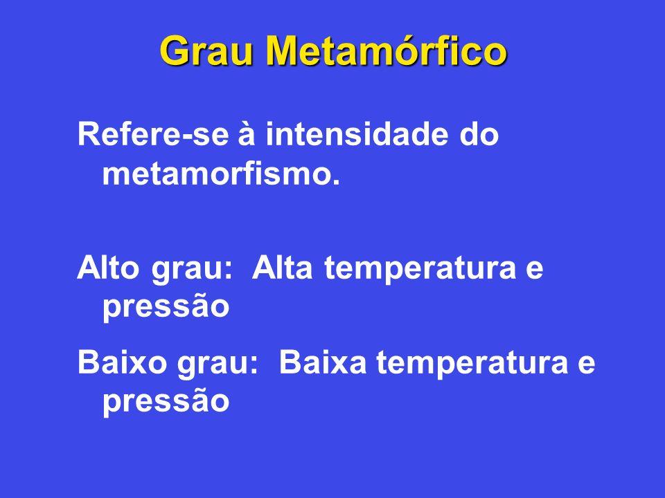 Grau Metamórfico Refere-se à intensidade do metamorfismo.