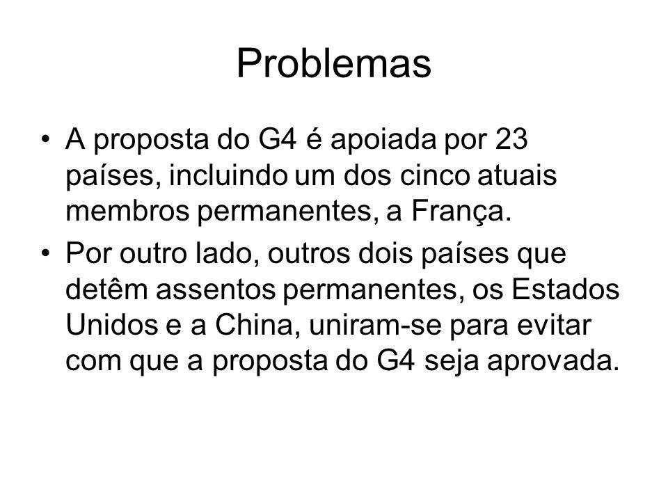Problemas A proposta do G4 é apoiada por 23 países, incluindo um dos cinco atuais membros permanentes, a França.