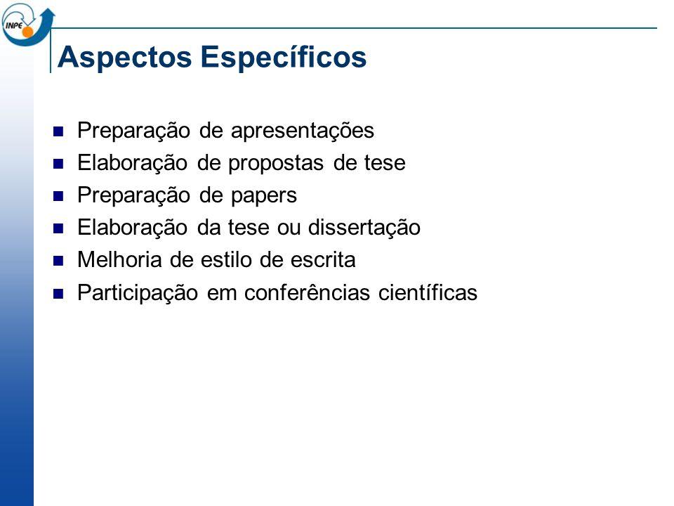 Aspectos Específicos Preparação de apresentações