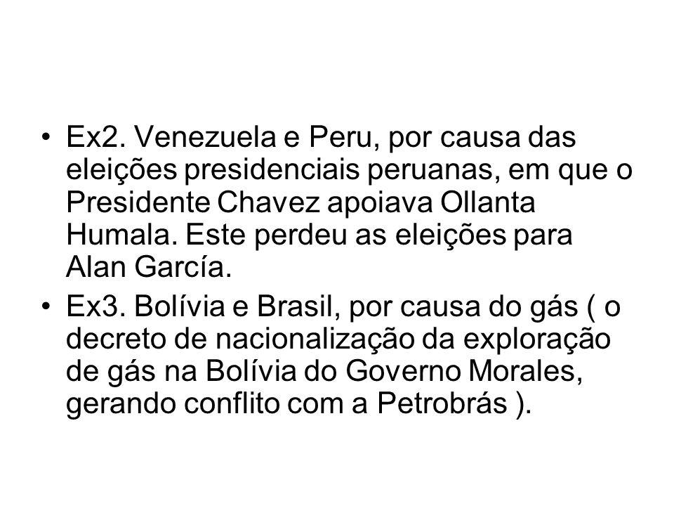 Ex2. Venezuela e Peru, por causa das eleições presidenciais peruanas, em que o Presidente Chavez apoiava Ollanta Humala. Este perdeu as eleições para Alan García.