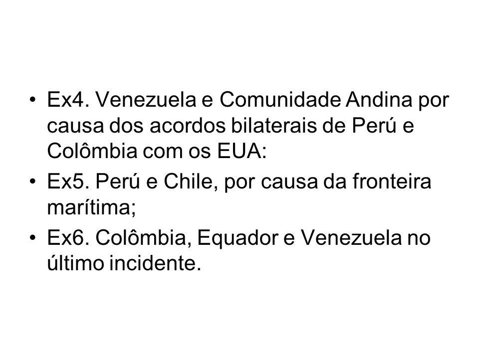Ex4. Venezuela e Comunidade Andina por causa dos acordos bilaterais de Perú e Colômbia com os EUA:
