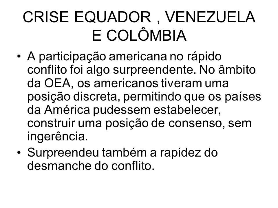 CRISE EQUADOR , VENEZUELA E COLÔMBIA