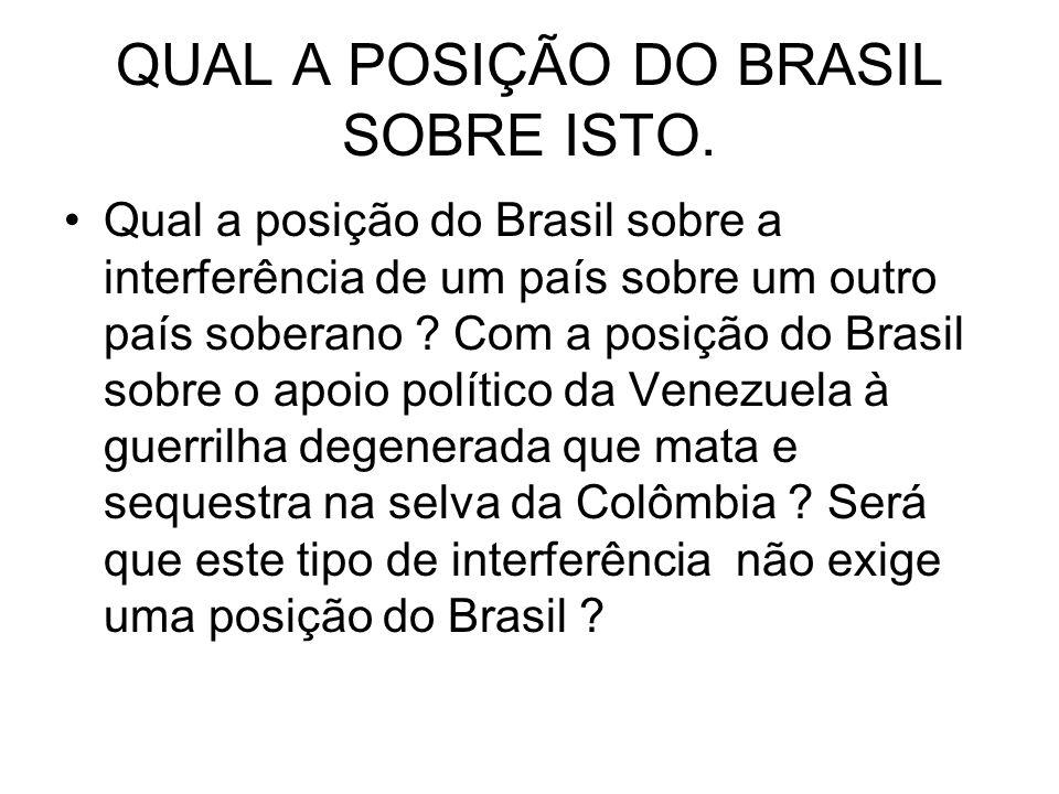 QUAL A POSIÇÃO DO BRASIL SOBRE ISTO.