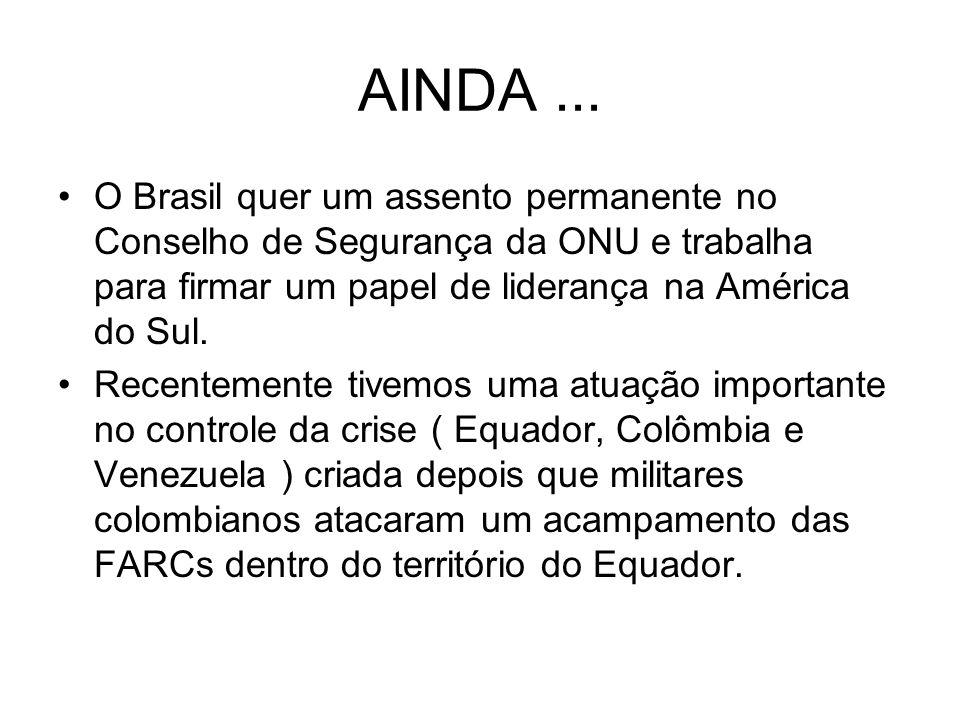 AINDA ... O Brasil quer um assento permanente no Conselho de Segurança da ONU e trabalha para firmar um papel de liderança na América do Sul.