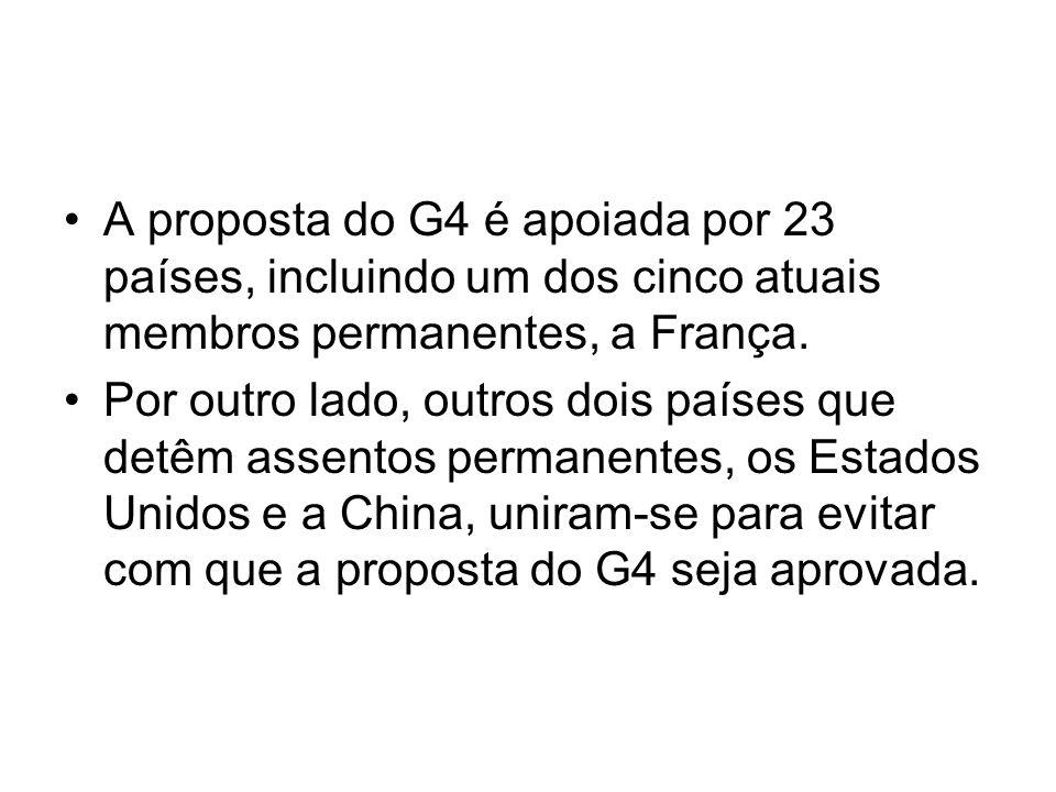 A proposta do G4 é apoiada por 23 países, incluindo um dos cinco atuais membros permanentes, a França.