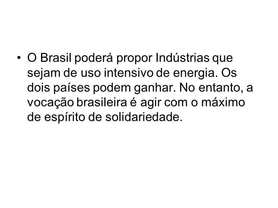 O Brasil poderá propor Indústrias que sejam de uso intensivo de energia.