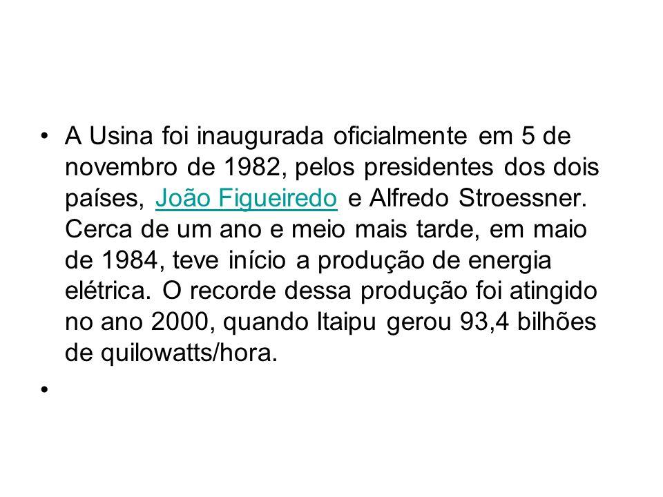 A Usina foi inaugurada oficialmente em 5 de novembro de 1982, pelos presidentes dos dois países, João Figueiredo e Alfredo Stroessner.