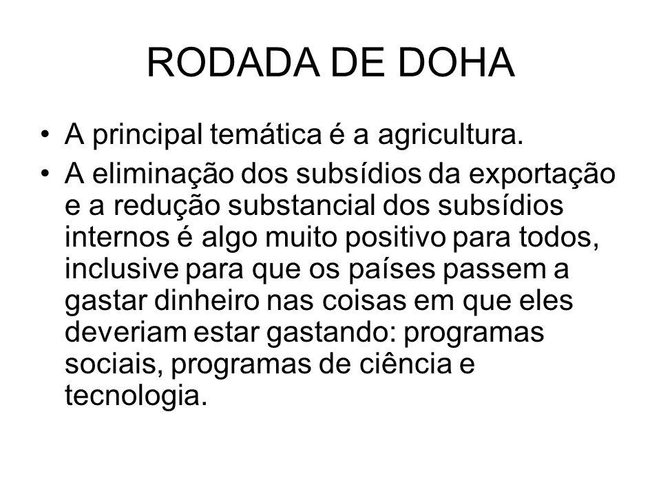 RODADA DE DOHA A principal temática é a agricultura.