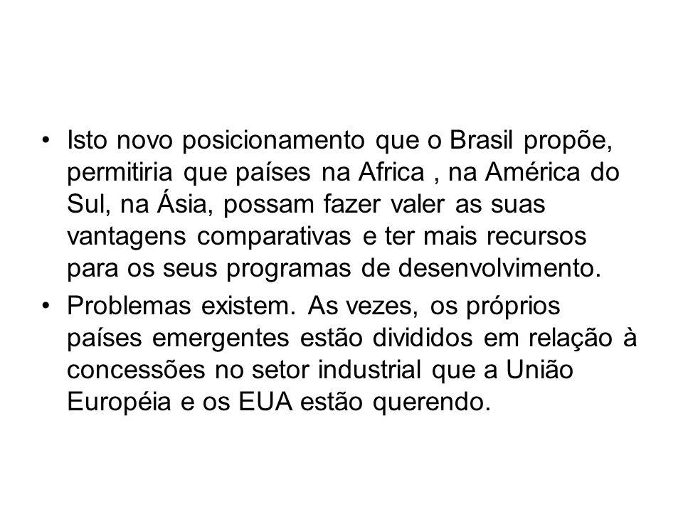 Isto novo posicionamento que o Brasil propõe, permitiria que países na Africa , na América do Sul, na Ásia, possam fazer valer as suas vantagens comparativas e ter mais recursos para os seus programas de desenvolvimento.