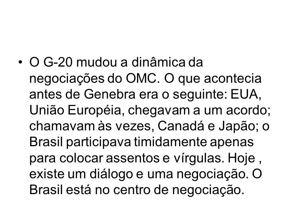 O G-20 mudou a dinâmica da negociações do OMC