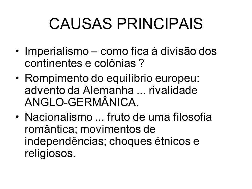 CAUSAS PRINCIPAIS Imperialismo – como fica à divisão dos continentes e colônias