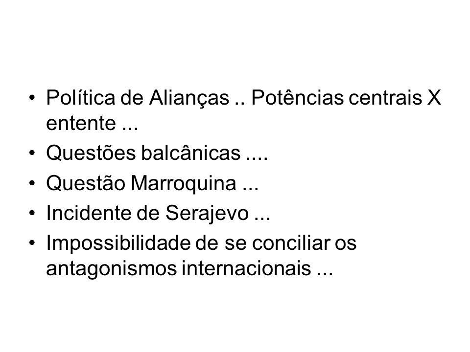 Política de Alianças .. Potências centrais X entente ...