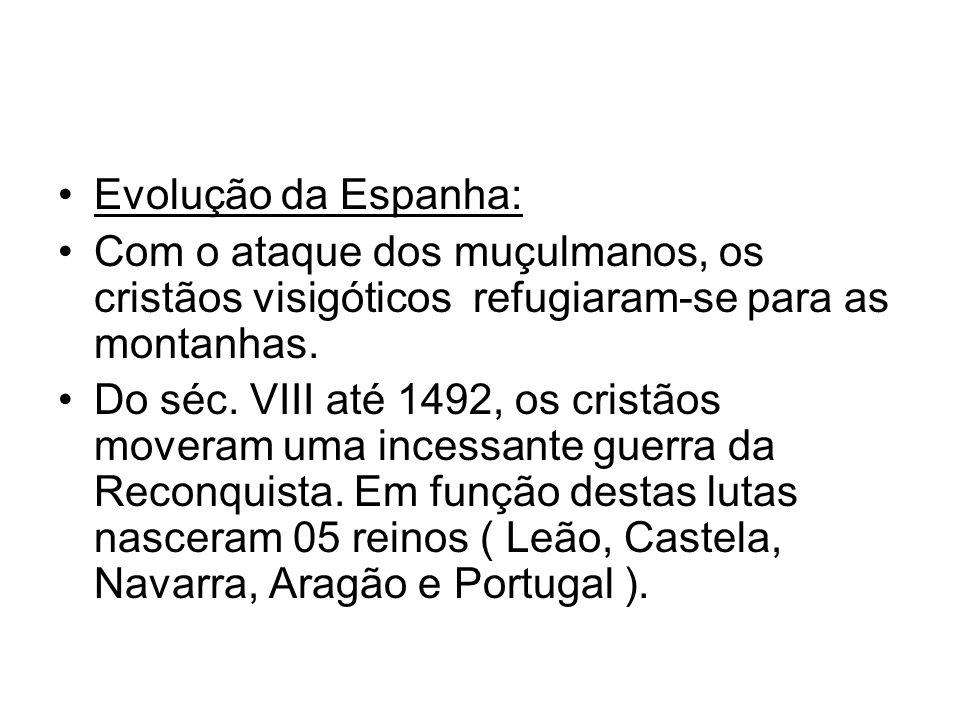 Evolução da Espanha: Com o ataque dos muçulmanos, os cristãos visigóticos refugiaram-se para as montanhas.