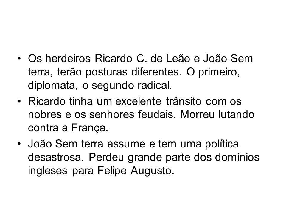 Os herdeiros Ricardo C. de Leão e João Sem terra, terão posturas diferentes. O primeiro, diplomata, o segundo radical.