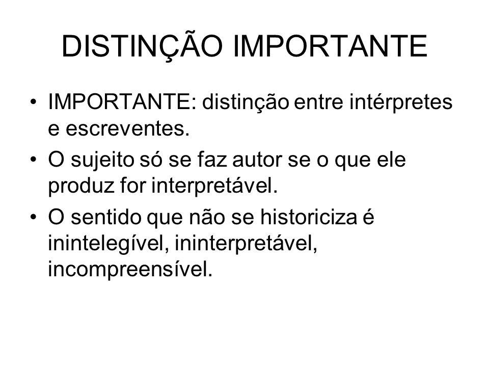 DISTINÇÃO IMPORTANTE IMPORTANTE: distinção entre intérpretes e escreventes. O sujeito só se faz autor se o que ele produz for interpretável.
