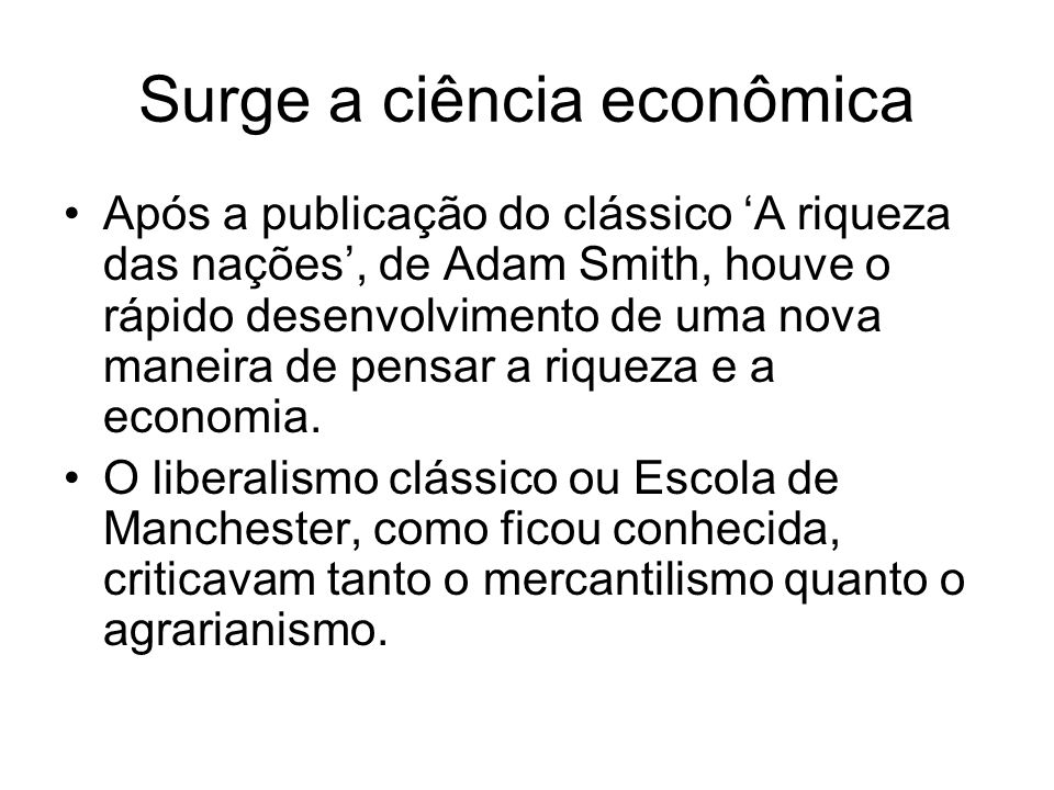 Surge a ciência econômica