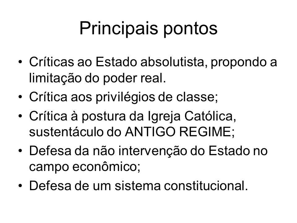 Principais pontos Críticas ao Estado absolutista, propondo a limitação do poder real. Crítica aos privilégios de classe;