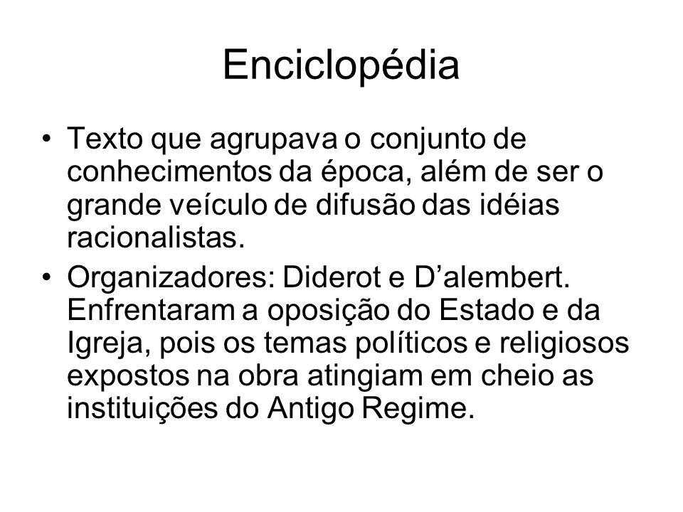 EnciclopédiaTexto que agrupava o conjunto de conhecimentos da época, além de ser o grande veículo de difusão das idéias racionalistas.