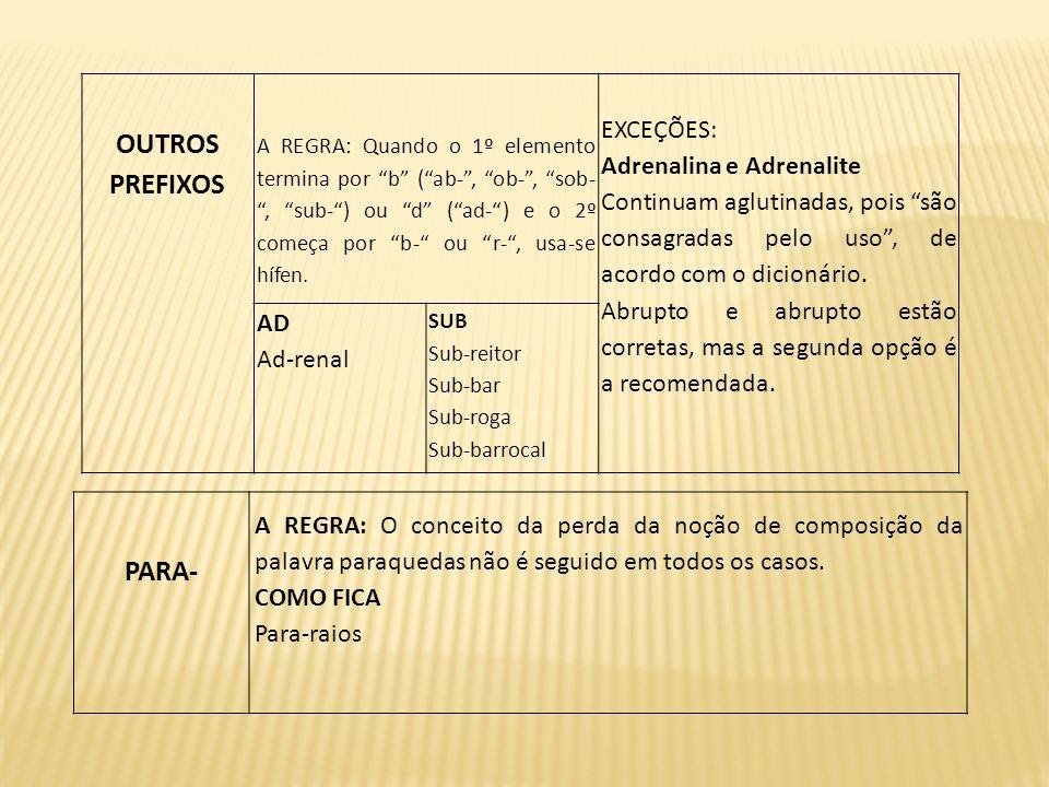 OUTROS PREFIXOS PARA- EXCEÇÕES: Adrenalina e Adrenalite