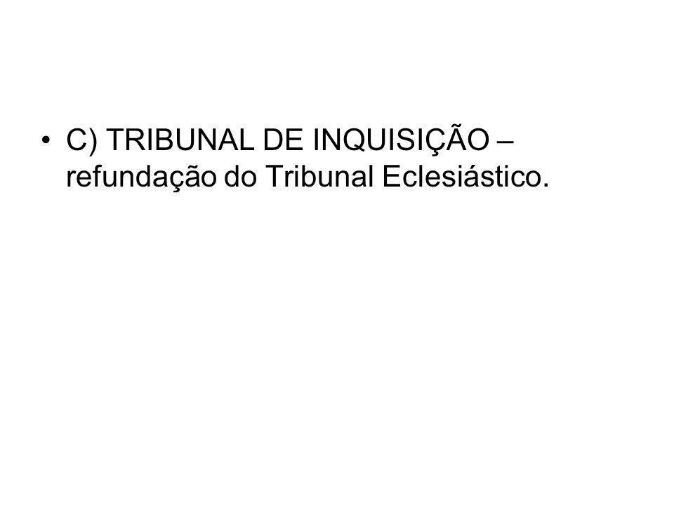 C) TRIBUNAL DE INQUISIÇÃO – refundação do Tribunal Eclesiástico.