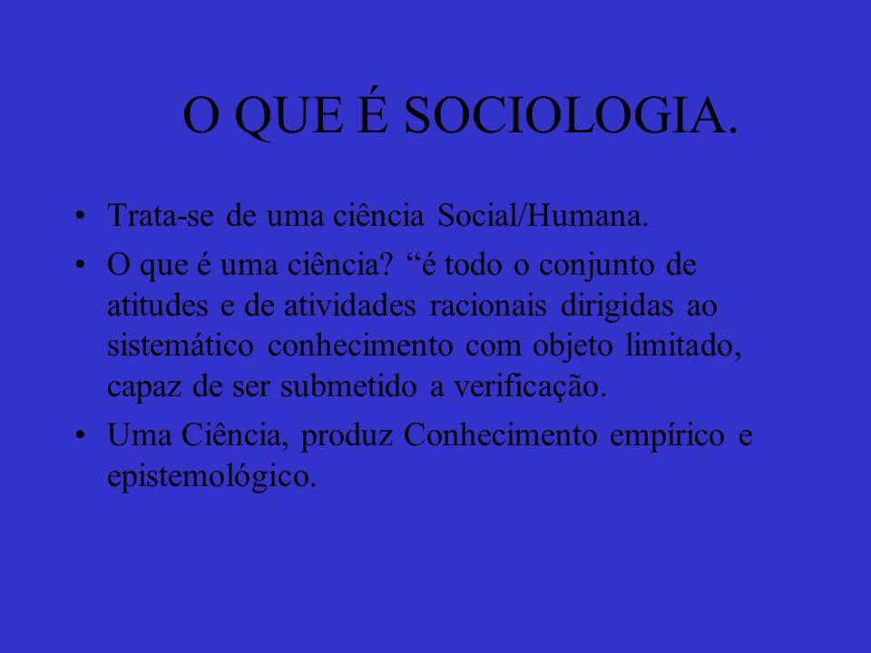O QUE É SOCIOLOGIA. Trata-se de uma ciência Social/Humana.
