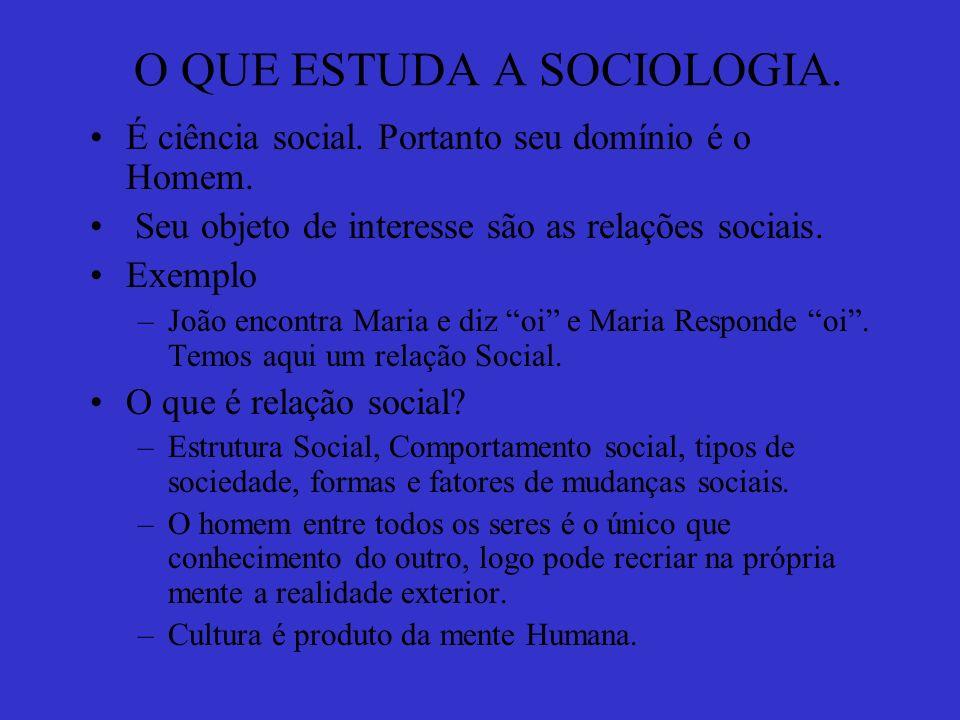 O QUE ESTUDA A SOCIOLOGIA.