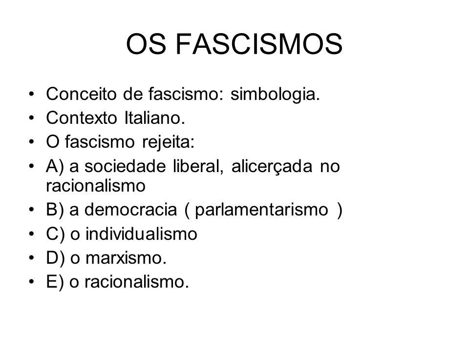 OS FASCISMOS Conceito de fascismo: simbologia. Contexto Italiano.