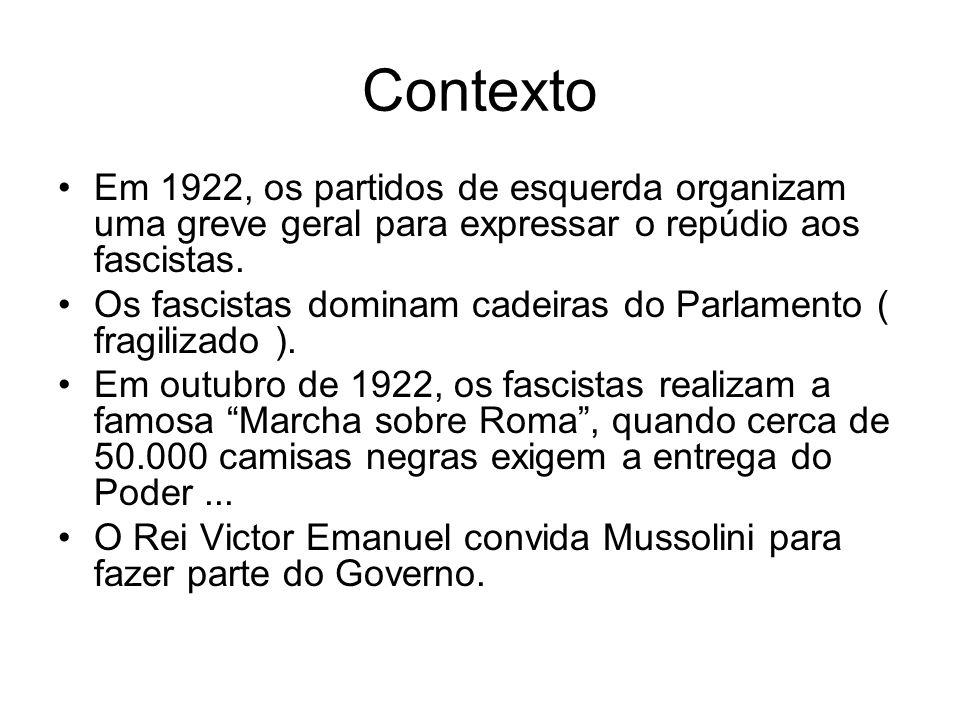 Contexto Em 1922, os partidos de esquerda organizam uma greve geral para expressar o repúdio aos fascistas.