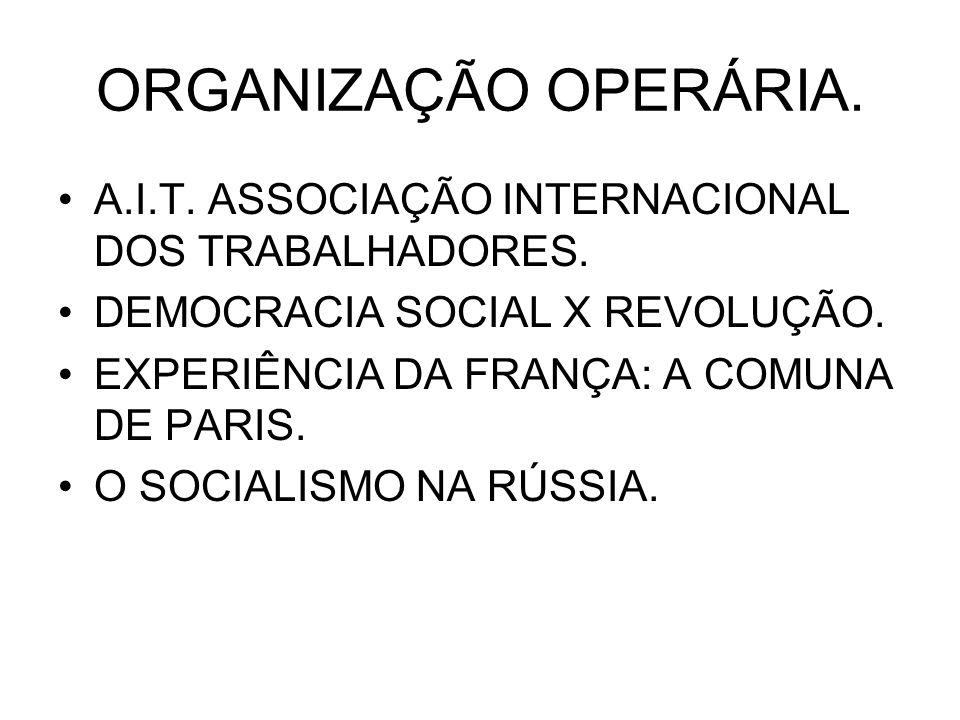 ORGANIZAÇÃO OPERÁRIA. A.I.T. ASSOCIAÇÃO INTERNACIONAL DOS TRABALHADORES. DEMOCRACIA SOCIAL X REVOLUÇÃO.