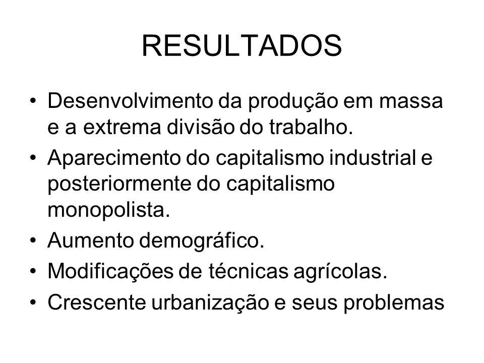 RESULTADOS Desenvolvimento da produção em massa e a extrema divisão do trabalho.