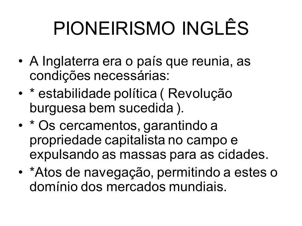 PIONEIRISMO INGLÊS A Inglaterra era o país que reunia, as condições necessárias: * estabilidade política ( Revolução burguesa bem sucedida ).