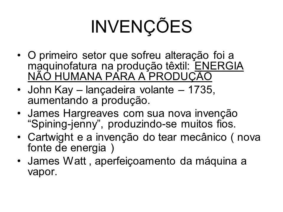 INVENÇÕES O primeiro setor que sofreu alteração foi a maquinofatura na produção têxtil: ENERGIA NÃO HUMANA PARA A PRODUÇÃO.