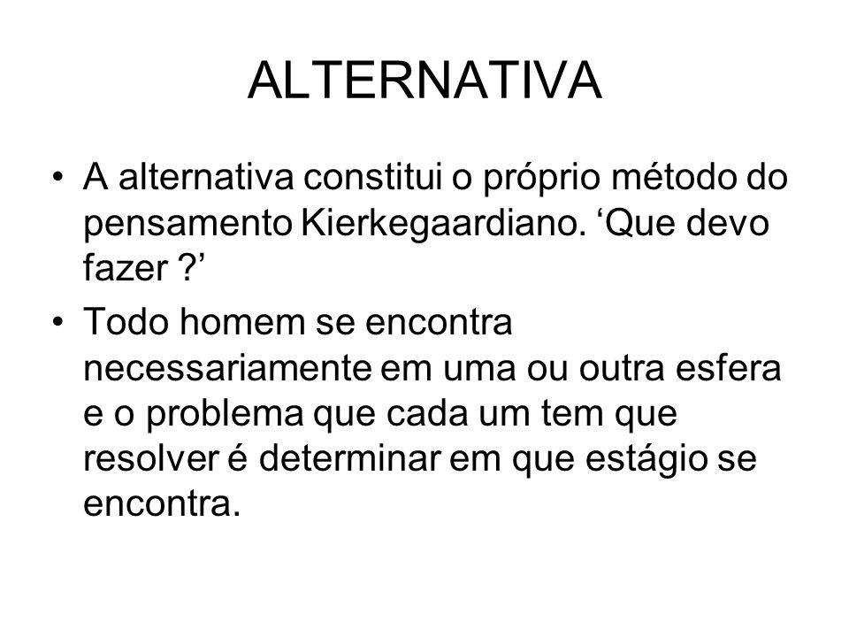 ALTERNATIVA A alternativa constitui o próprio método do pensamento Kierkegaardiano. 'Que devo fazer '