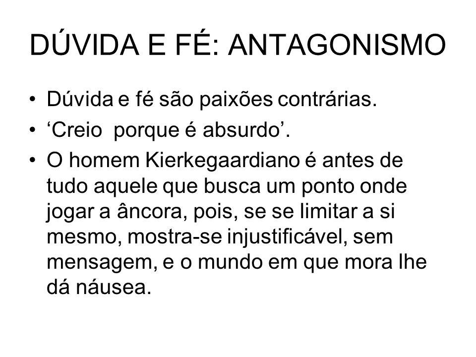 DÚVIDA E FÉ: ANTAGONISMO