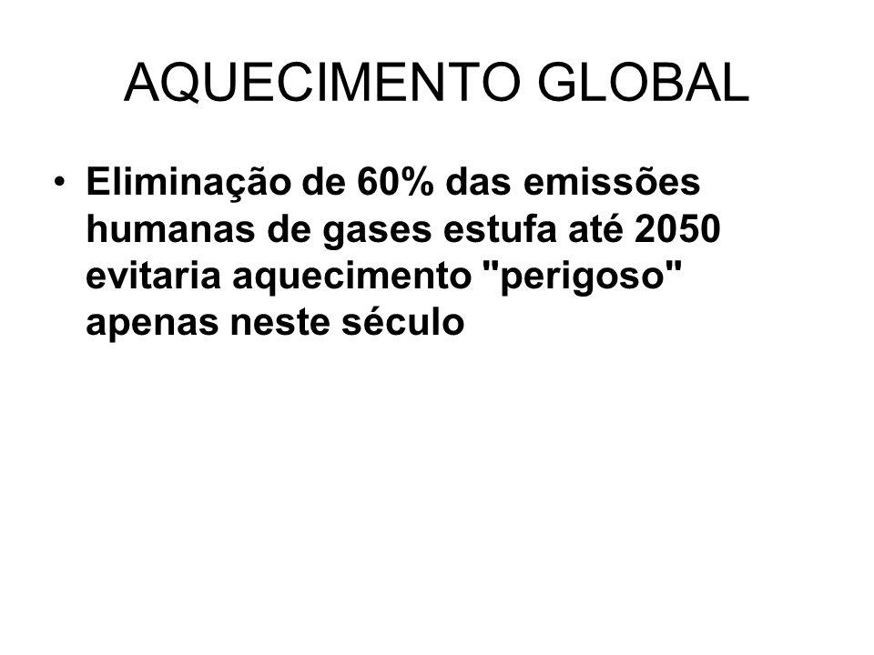 AQUECIMENTO GLOBAL Eliminação de 60% das emissões humanas de gases estufa até 2050 evitaria aquecimento perigoso apenas neste século.
