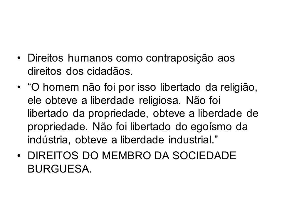 Direitos humanos como contraposição aos direitos dos cidadãos.