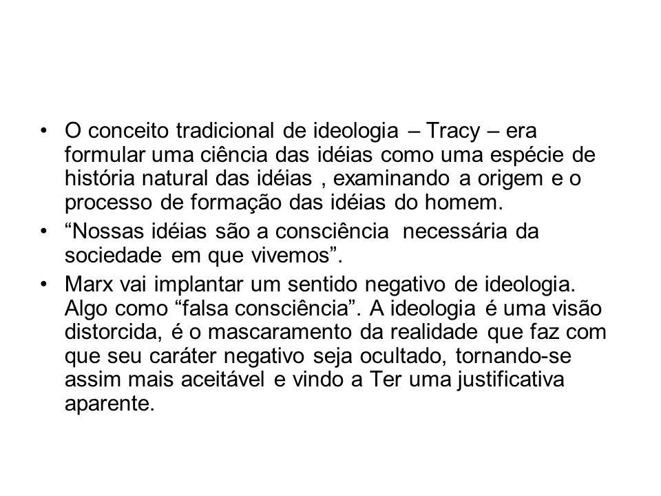 O conceito tradicional de ideologia – Tracy – era formular uma ciência das idéias como uma espécie de história natural das idéias , examinando a origem e o processo de formação das idéias do homem.