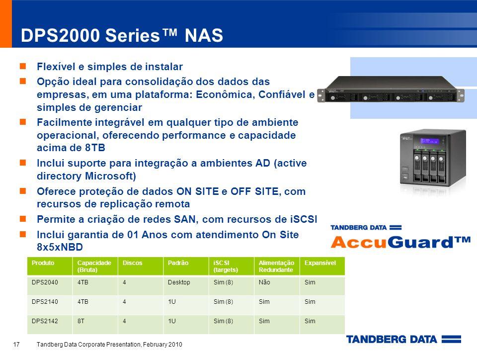 DPS2000 Series™ NAS Flexível e simples de instalar