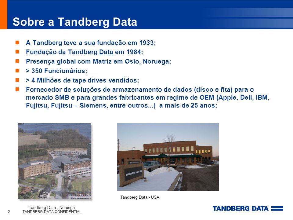 Sobre a Tandberg Data A Tandberg teve a sua fundação em 1933;