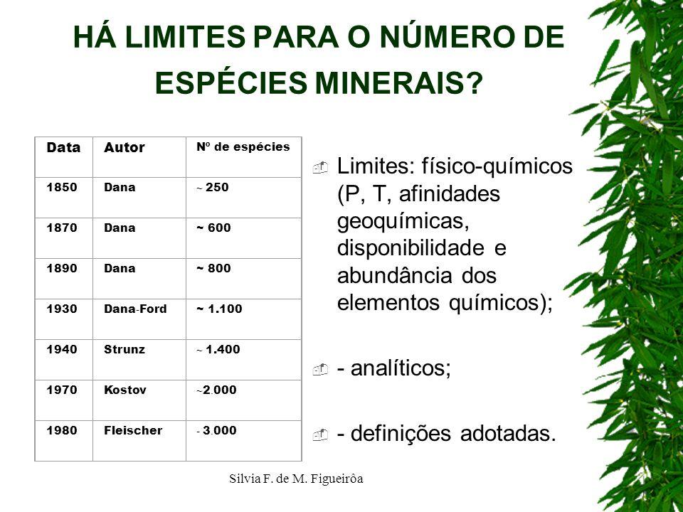 HÁ LIMITES PARA O NÚMERO DE ESPÉCIES MINERAIS