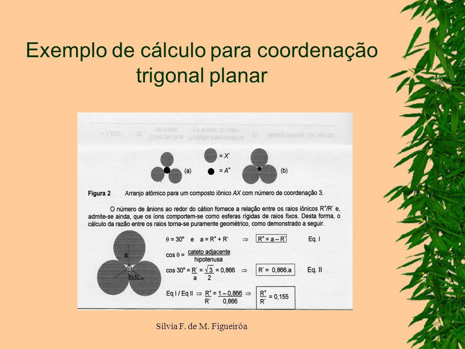 Exemplo de cálculo para coordenação trigonal planar