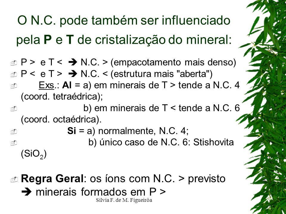 O N.C. pode também ser influenciado pela P e T de cristalização do mineral: