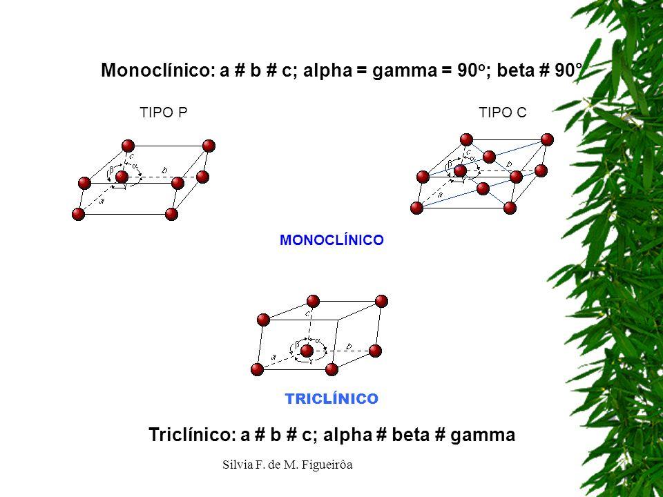 Triclínico: a # b # c; alpha # beta # gamma