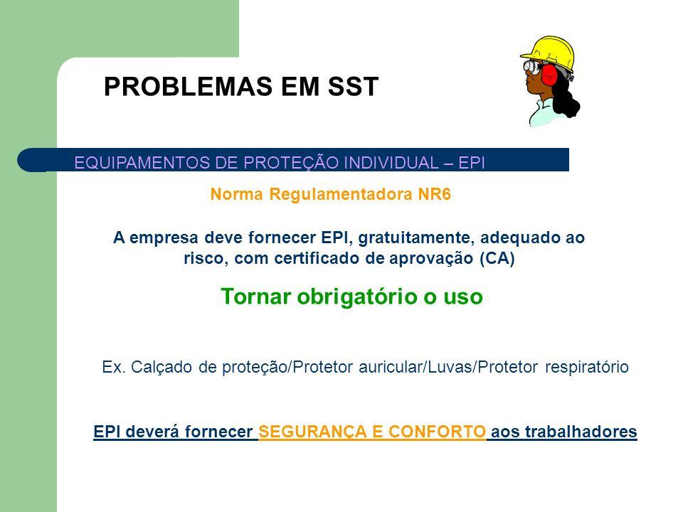 PROBLEMAS EM SST EQUIPAMENTOS DE PROTEÇÃO INDIVIDUAL – EPI