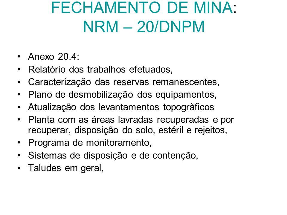 FECHAMENTO DE MINA: NRM – 20/DNPM