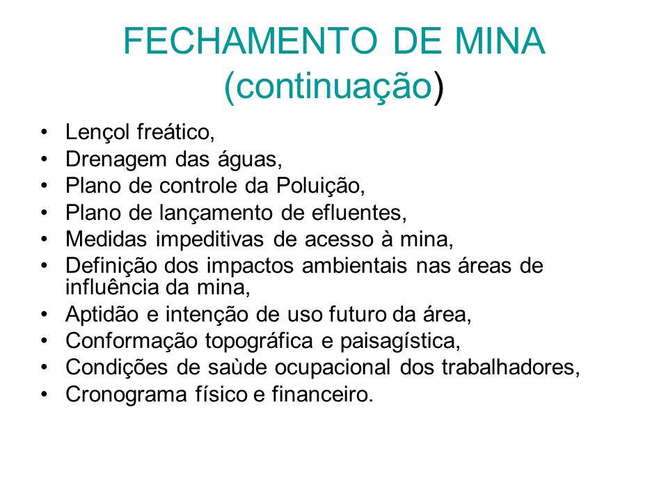 FECHAMENTO DE MINA (continuação)